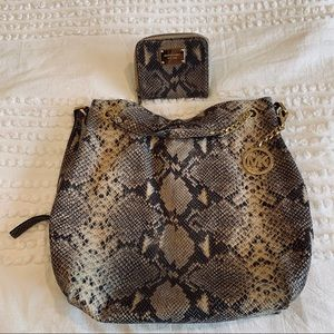 Snake skin print Michael Kors purse and wallet
